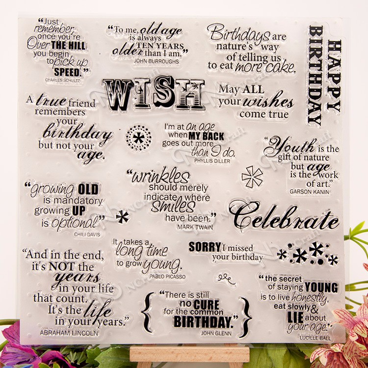 Happy Birthday Clear Silicone Stamp for DIY scrapbooking/photo album Decorative craft christmas holiday wishes clear silicone rubber stamp for diy scrapbooking photo album decorative craft clear stamp chapter
