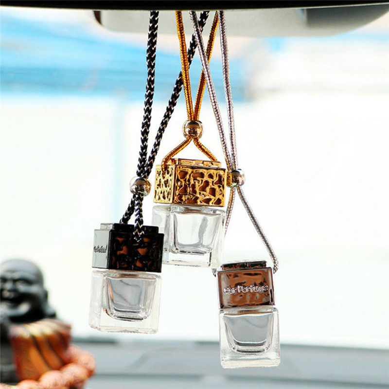 Car Hanging Perfume Bottle Car Air Freshener Glass Bottle Hanging Perfume Pendant For Essentialoils Mirror Ornament Car-Styling