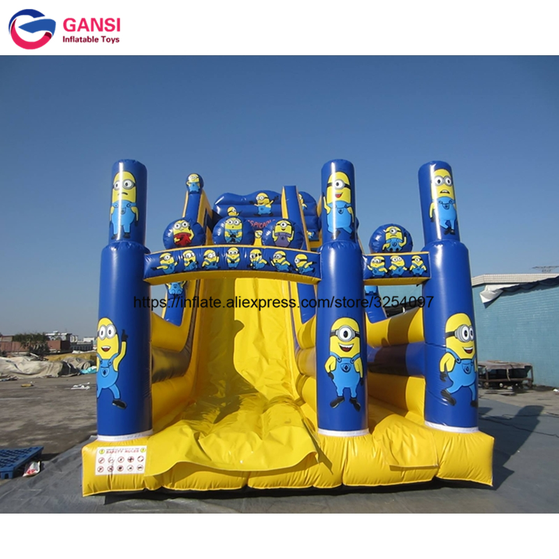 Commercial inflatable water slide, inflatable slide with small pool, inflatable bouncy slide for sales children shark blue inflatable water slide with blower for pool