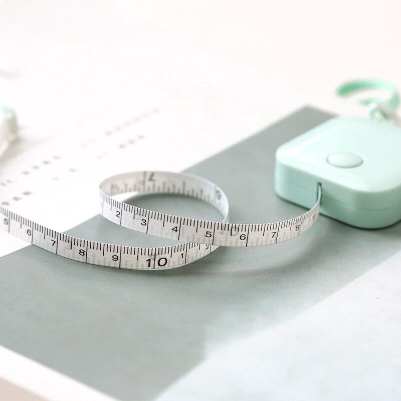 Jianwu 1.5m*7mm Tape Measure Macaron Candy Color Leather Ruler Box Portable Fashion Design School Supply #2