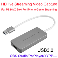 USB 3.0 1080P HDMI Video Capture Card Recording Game Live Video Streaming For PS3 PS4 XBOX ONE Conference Windows MAC OBS Studio