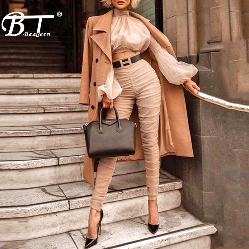 Beateen 2018 New Mesh Ruched Top Full Pant Women 2 Pieces Turtleneck Sexy Fashion Pant Suits