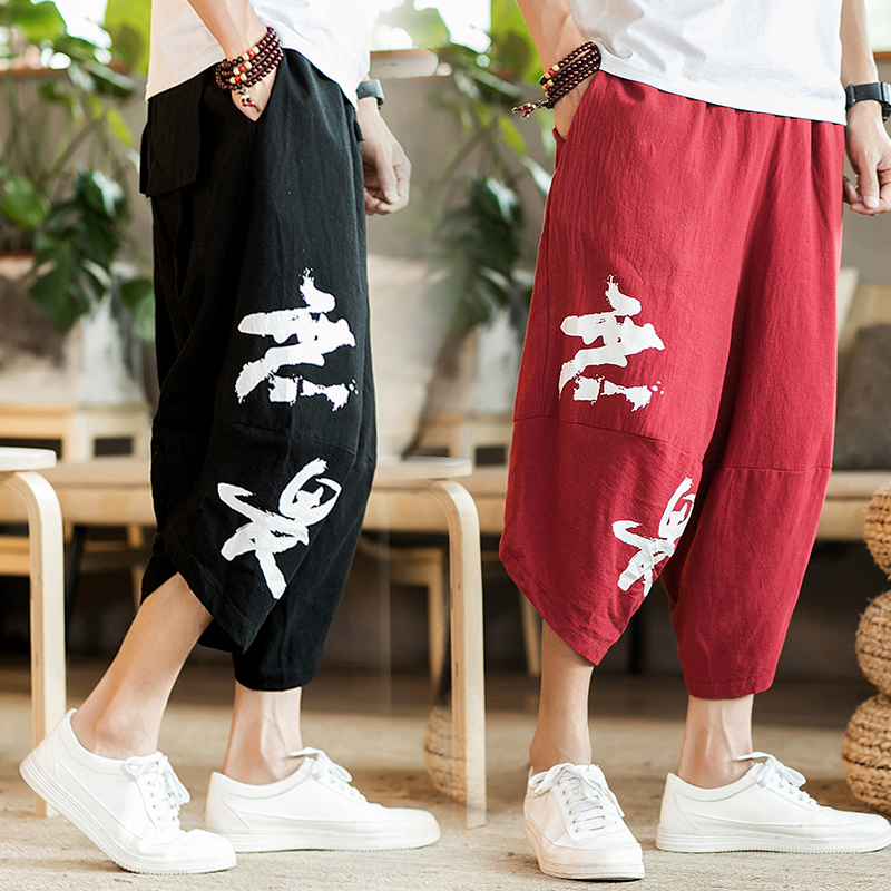 European station 2018 new spring and autumn linen loose Chinese casual wide open wide leg beach bloomers