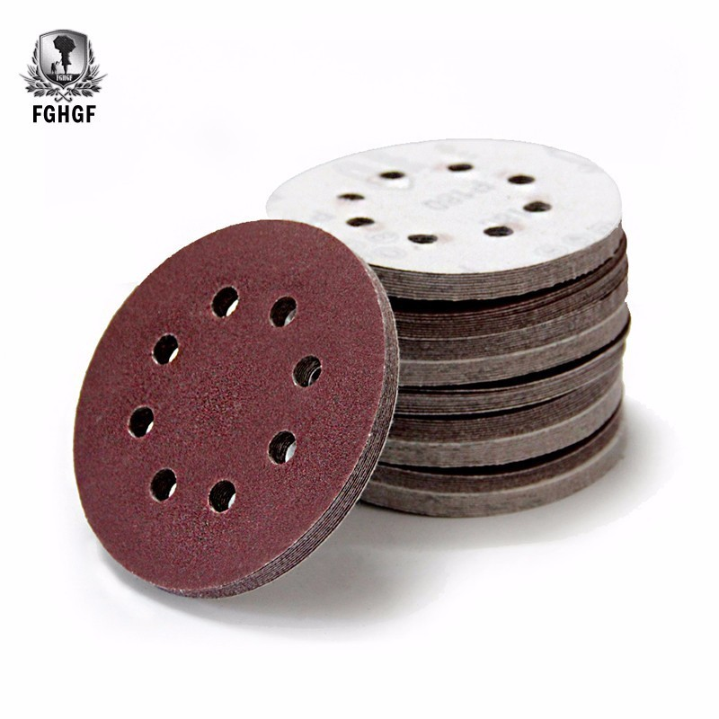 100pcs 125mm 8 Holes Sand Paper Flocking Discs Grits For Metal Wood And Glass Polishing Grinding Honing Tools