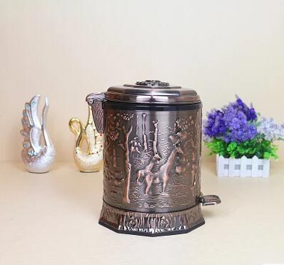 Européen de luxe copper10L pied pédale métal poubelle poubelle support de sac poubelle pour la décoration de la maison LJT019