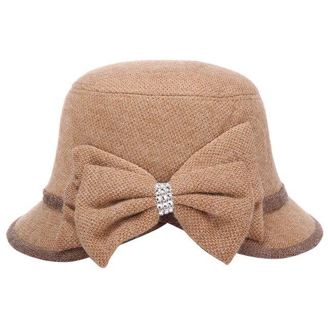 Autumn new knitted cotton hat  Fashion ladies hat Bows elegant temperament women cap