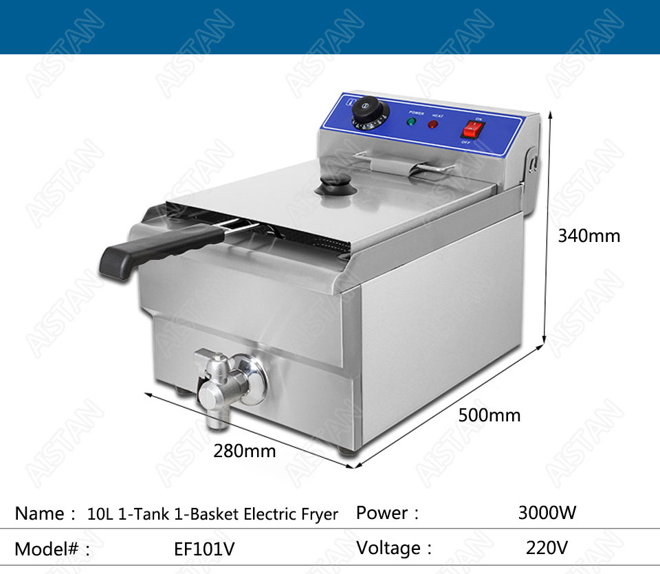 EF101V stainless steel electric deep fryer fried chicken fried potato chips for kitchen appliance 13