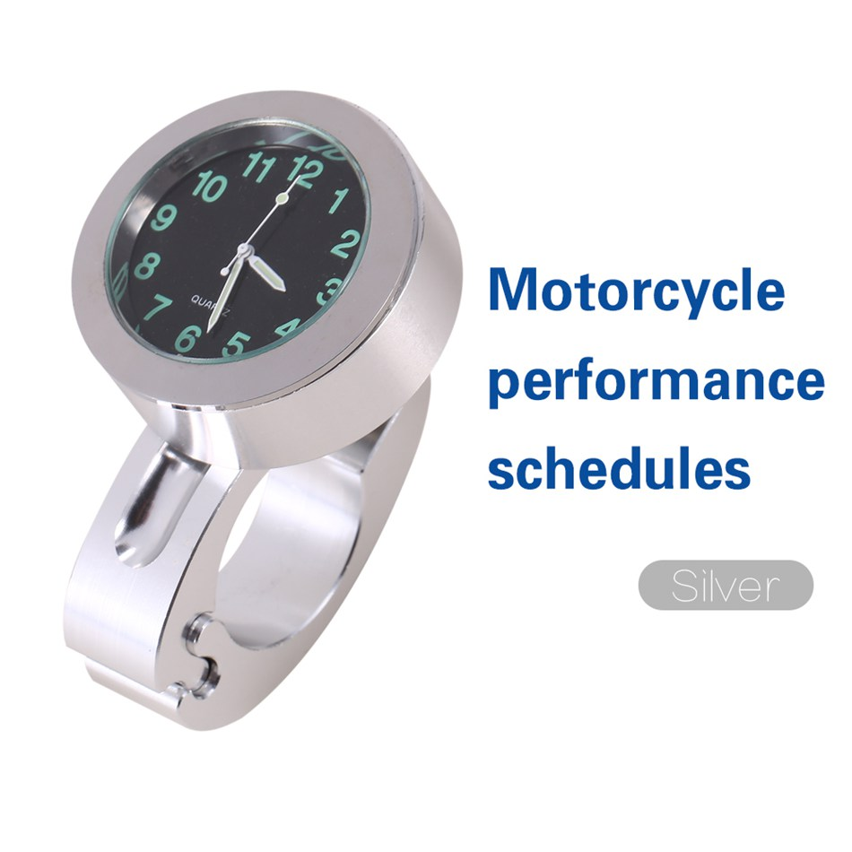 Universal 7/8 Motorcycle Bike Accessory Handlebar Mount Clock Watch Waterproof Dial Clock Suit ATV All Moto Silver