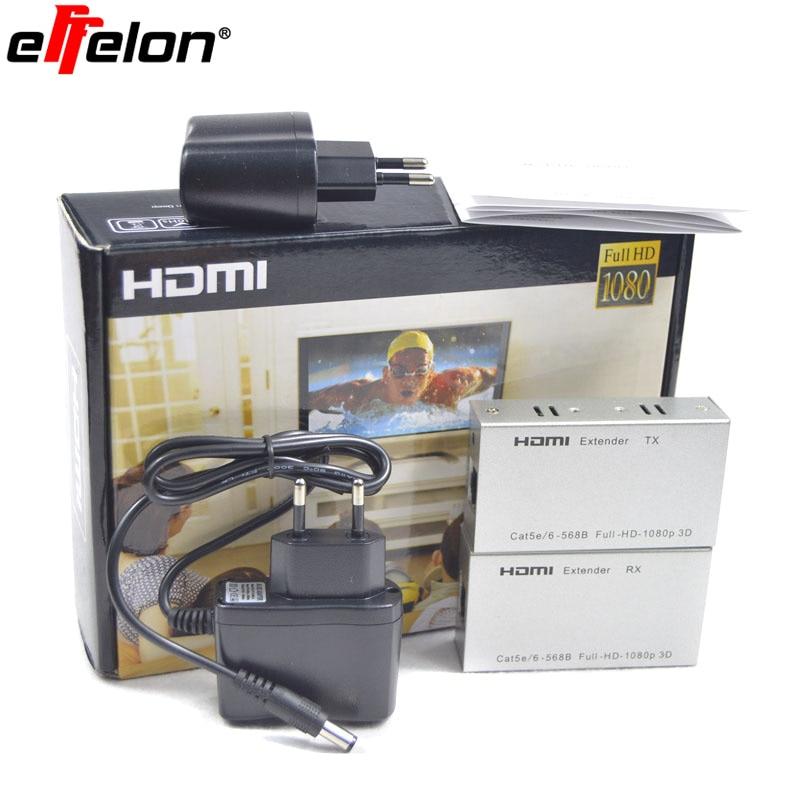 Effelon 1080P HDMI Extender HDMI Transmitter Receiver over Cat 5e/6 RJ45 Ethernet Converter 1080p to 196ft 60M 1080p lkv373 wireless hdmi ethernet network networking transmitter receiver extender 100m cat5e cat6 cable for rj45 dropshipping