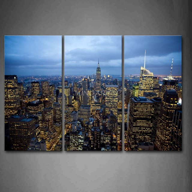 piece wall art painting new york buildings are full of light print