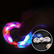 New LED Light Fidget Spinner Hand Spinne EDC Metal Alloy Hand Spinner Tri Toys For Kids Adult Autism ADHD Anxiety Stress Relief