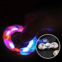 New LED Light Fidget Spinner Hand Spinne EDC Metal Alloy Hand Spinner Tri Toys For Kids