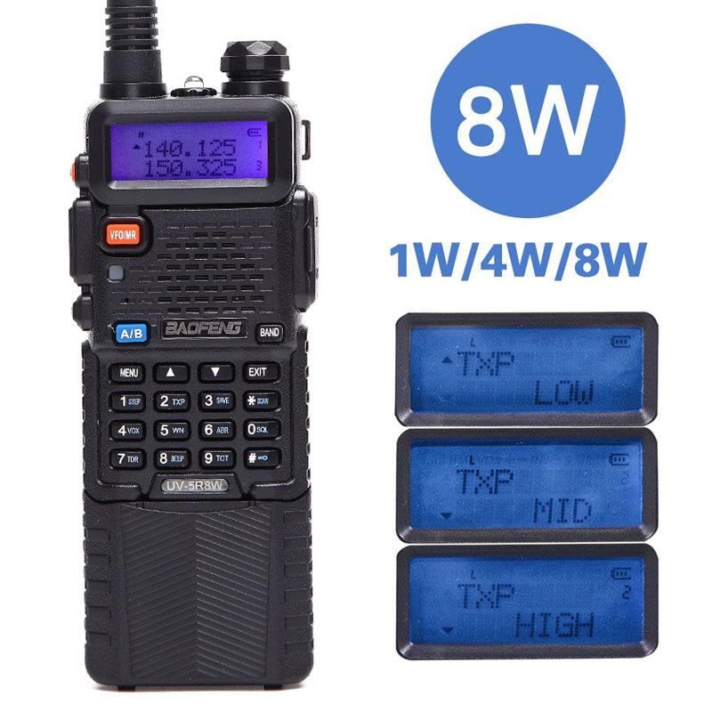 Baofeng UV-5R 8 w Haute Puissance Version 10 km Long Rang Deux Way Radio VHF UHF Double Bande UV 5R portable Radio Talkie Walkie CB Radio