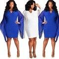 Gran estiramiento grande tamaño 2016 Nueva Primavera Verano Gasa Del Palo manga Blanca azul de Playa de Moda sexy Vestido de Gran Tamaño Trapear vestidos
