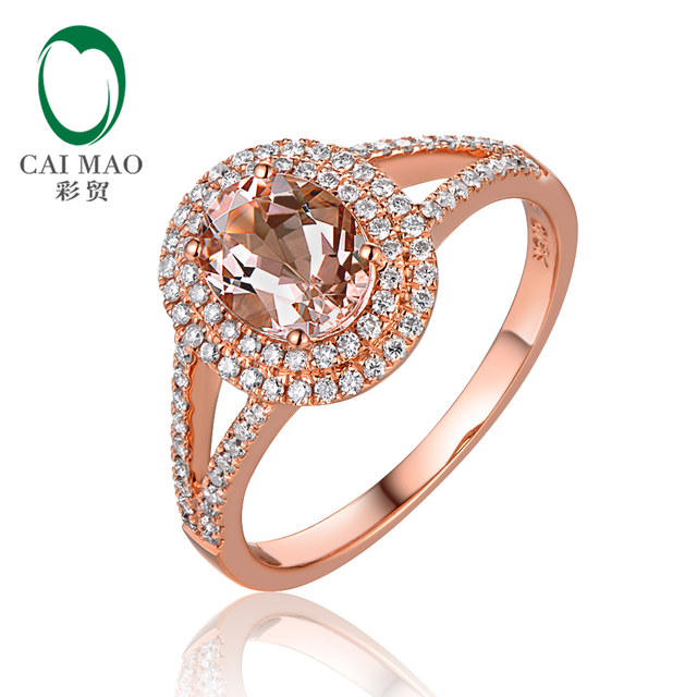New Arrival 14K Rose Gold 1.1ctw 6x8mm Oval Morganite and Pave Diamond Engagement Ring