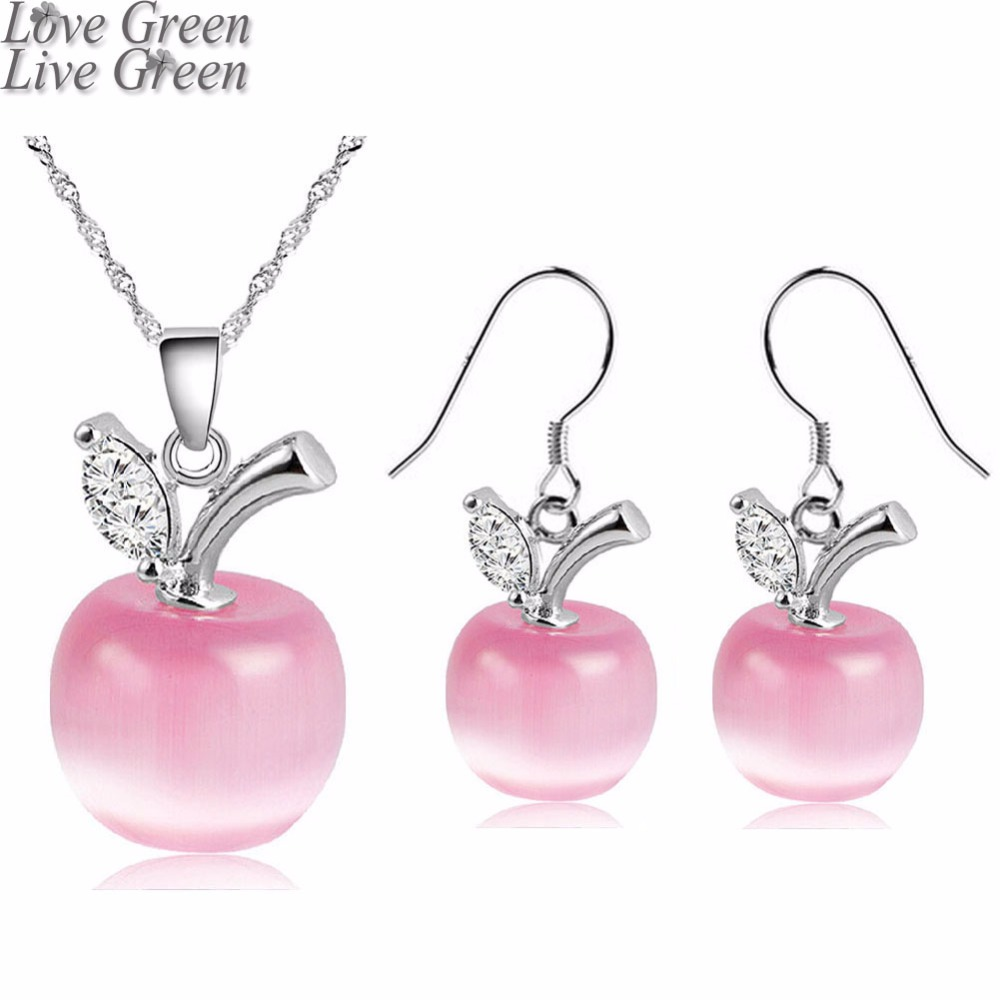 romantic brand gift bridal wedding silver plated white pink red apple fashion chain pendant necklace earrings jewelry sets 51105