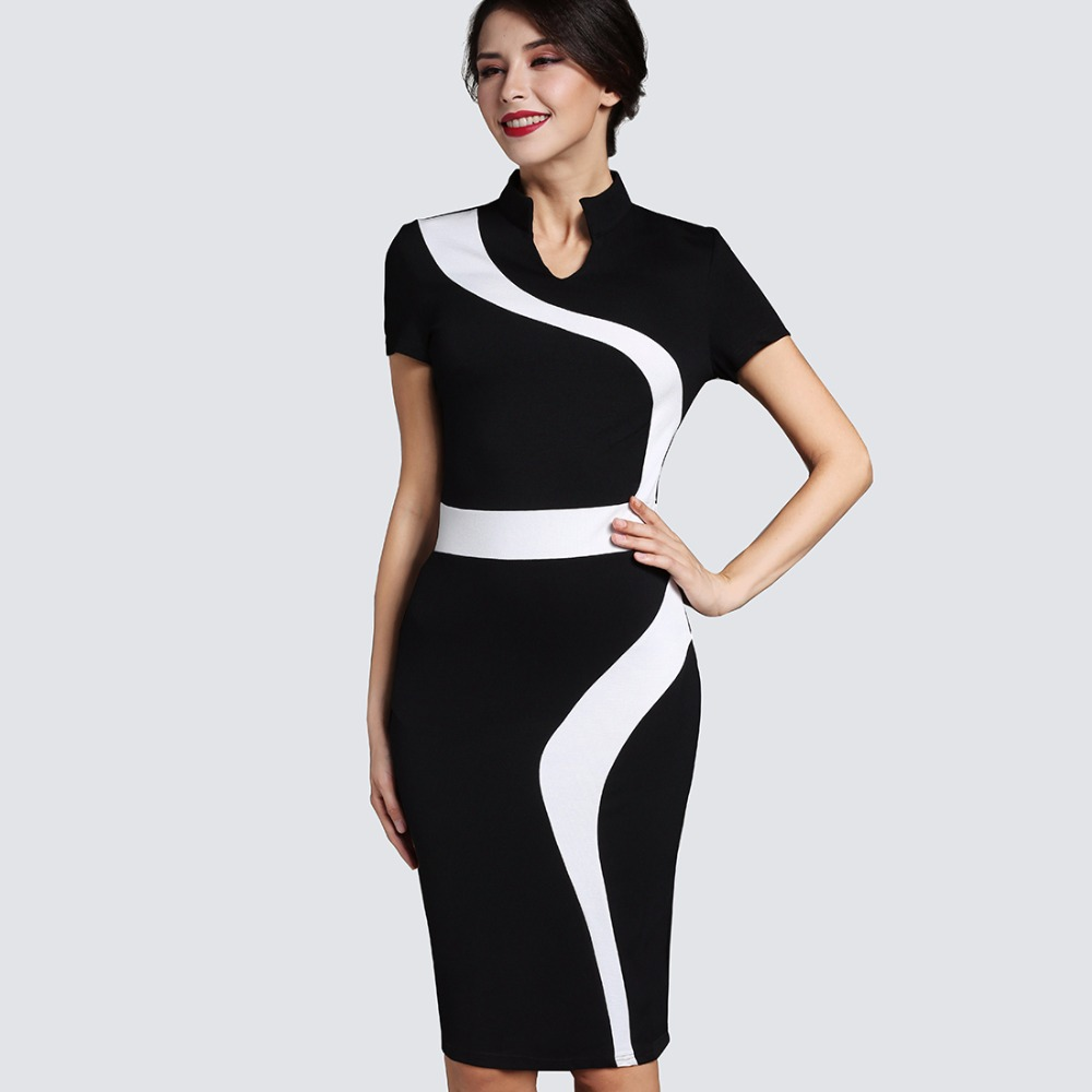 Stand Collar Dress Designs : Contrast fashion optional illusion business vintage office