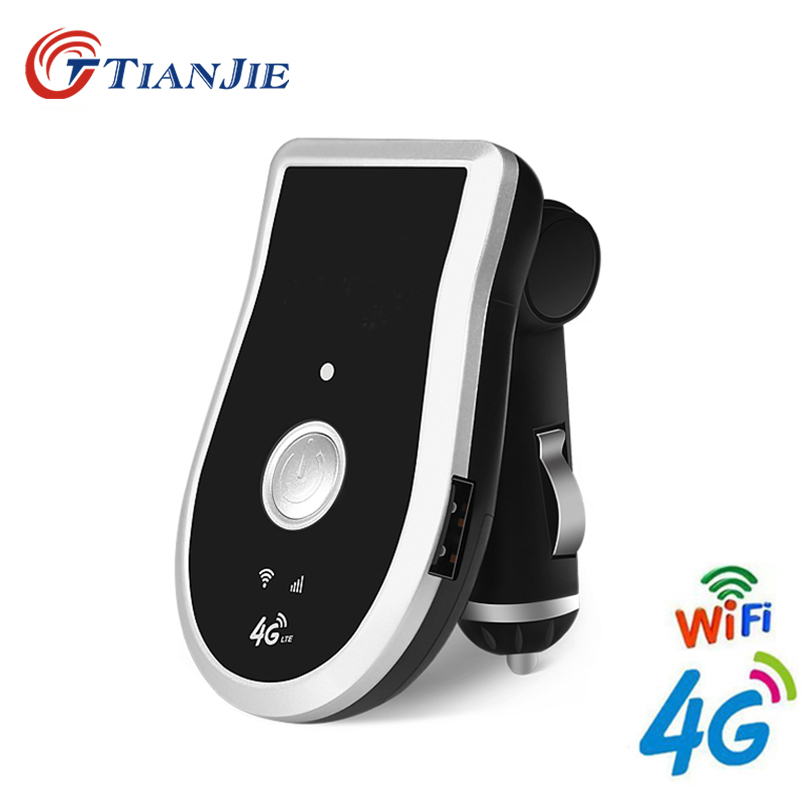 TIANJIE C204 Wifi Router CarFi Modem Router Unlocked 4G LTE Car SIM Card Wifi Hotspot with 5V/1A Cigarette lighter & USB Charger