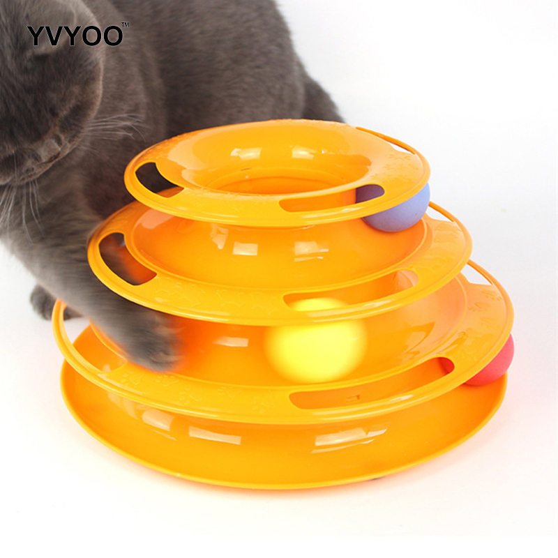 YVYOO Funny Cat Pet Toy Cat Toys Intelligence Triple Play Disc Cat Toy Balls Ball Toys Pets Green Orange 1pcs
