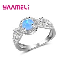 Zircons Top Quality Big Cute Light Blue Opal Stone Wedding Band Ring Jewelry For Ladies Attending Cocktail Party Dress(China)