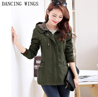 Spring Army Green Women's Windbreaker Plus Size 4XL Hooded Coat Jacket Casual Fashion Slim Coats Female