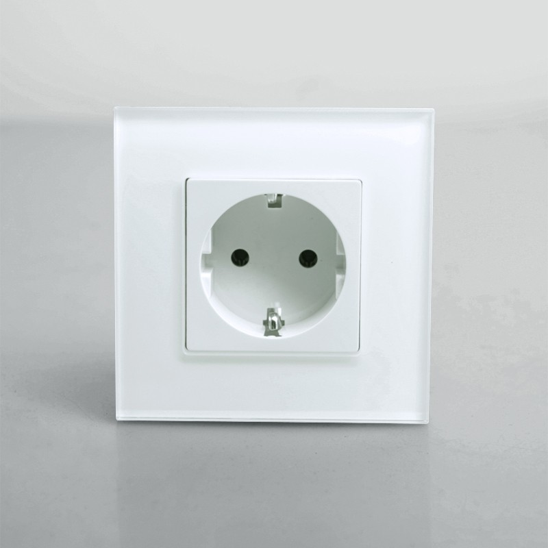 Free Shipping KP001EU W EU Power Electric Socket Schuko White Crystal Glass Panel 16A EU Standard
