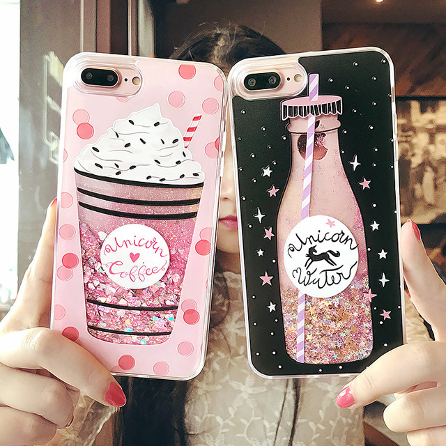 BROTOLA Cute Bottle Quicksand Case For iphone 7 Case Silicone Hard PC Dynamic Liquid Glitter Cover For iPhone 6 6s 7 8 Plus X