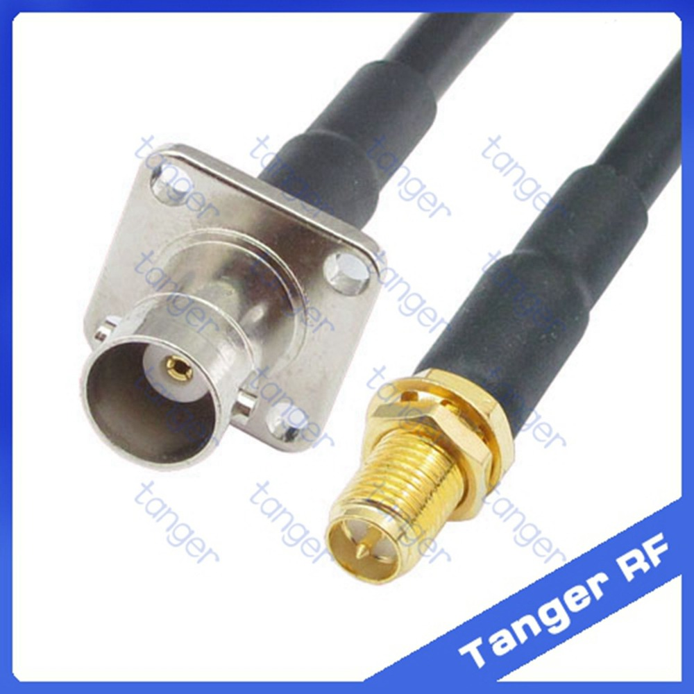 BNC female jack 4four hole panel to RP-SMA female connector RF RG58 Pigtail Jumper Coaxial Cable 20inch 50cm High Quality русский гамак rg 20 материал канвас полоска 4