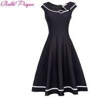 New Retro Vintage 50s 60s Women Dress Sleeveless Sailor Collar Neck Elegant Female Daily Party Swing