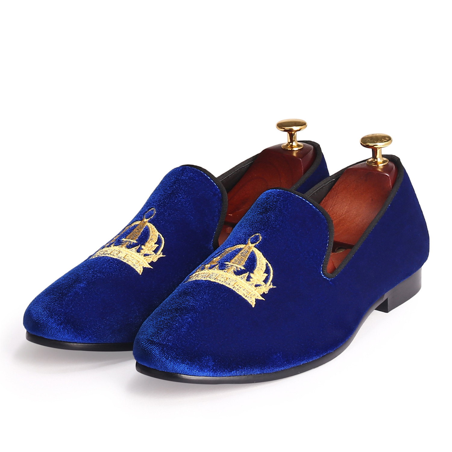 Wedding Mens Shoes Slip On Round Toe Men Embroidery Shoes Velvet Loafers Blue Footwear Comfortable Red Bottom Shoes Size 7-14