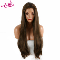 Aurica dark brown natural straight synthetic lace front wigs natural half hand tied heat resistant fiber hair free parting