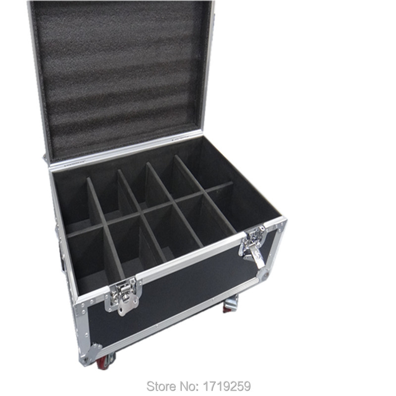 Flight Case with 10pcs/lot Wireless remote control 7x 9W RGB DMX Led Flat Par High Power Light with 10 pieces DMX Cables free shipping f ord focus remote control head case 10pcs lot with good quality