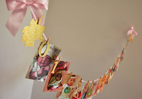 Gold Unicorn 12 Month Photo Birthday Party Banners Baby Shower Buntings Nursery Room Garlands Booth
