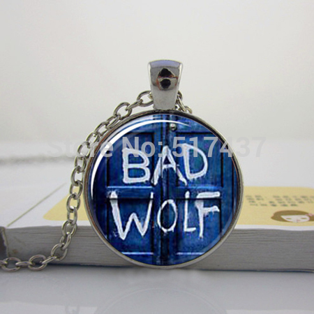 Glass Dome Pendant,Doctor Who Inspired Bad Wolf Tardis Necklace,Handmade,Glass Cabochon