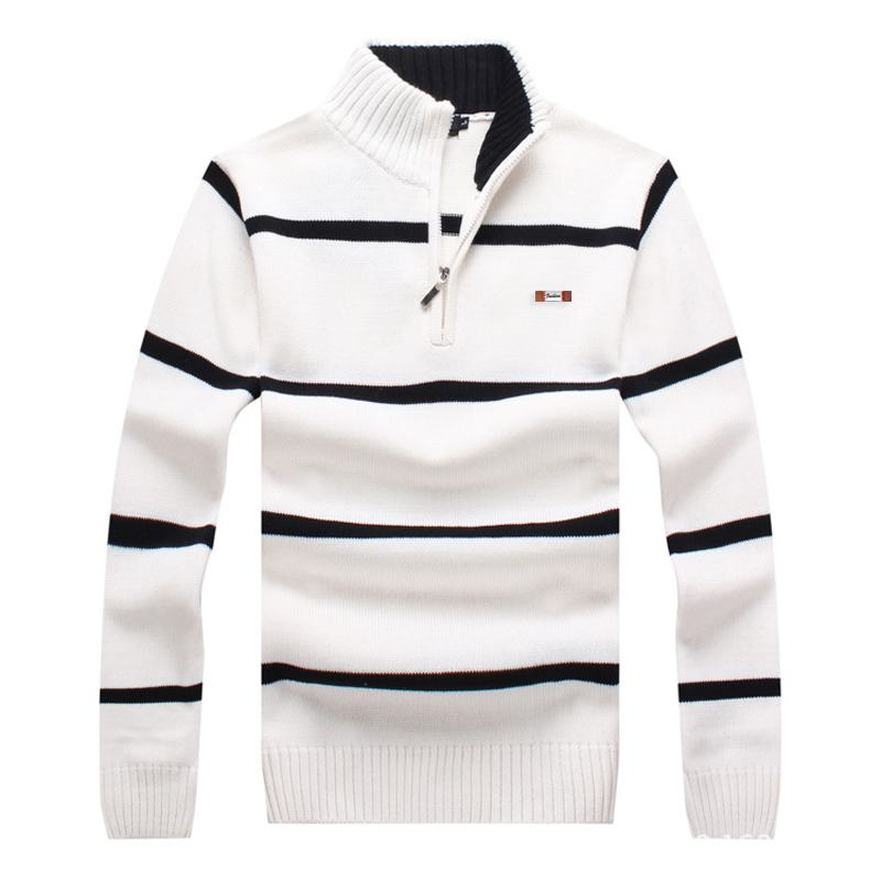 Top quality 2019 Mens long sleeve stand-collar knitted sweaters cotton casual striped mens sweaters fashion knitted male coats