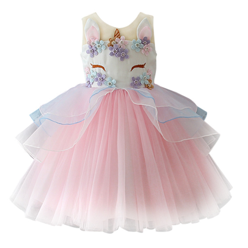 Kids Unicorn Dress For Girls Embroidery Flower Ball Gown Baby Girl Princess Dresses For Party Costumes Vestido Unicornio 2-10T 2016 new girl embroidery princess sleeveless dress kids baby children s party ball gown vestido de festa for 3 10y
