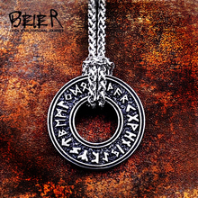 Beier 316L Stainless Steel Viking Icelandic Vegvisir Helmet Horror In Runic Circle Pendant Magical Staves men  Rune Amulet LP105