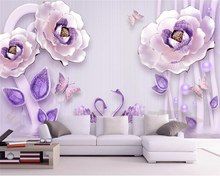 beibehang Custom 3D stereo relief personalized fashion silk wallpaper Peony European TV background papel de parede 3d