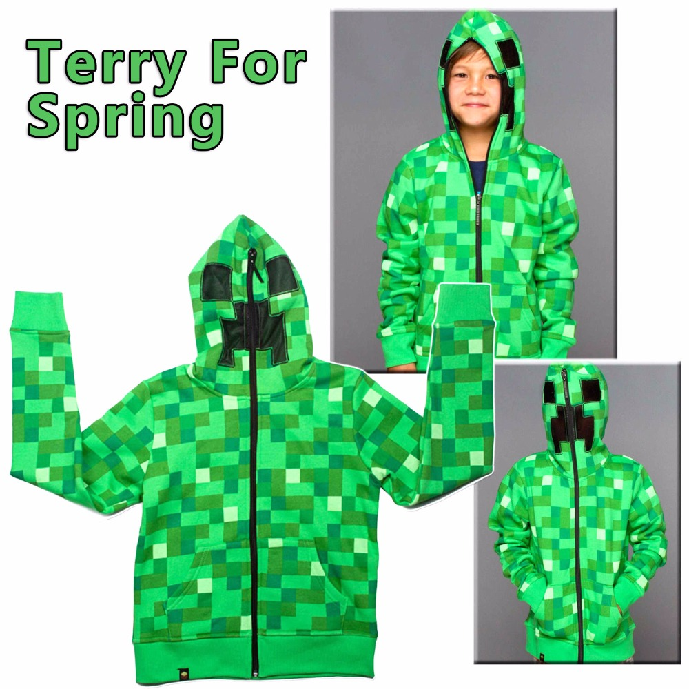 Dropshipping Minecraft Hoodies Coats Kid Boy Girl Wool Spring Autumn Coat Children Sweatshirts Thick Hodie 4-14 Years
