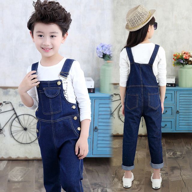 b49d22bb523 Kids Denim Overalls for Teenagers 4-12 years Spring Denim Dungarees Girls  Pocket Jumpsuit Children