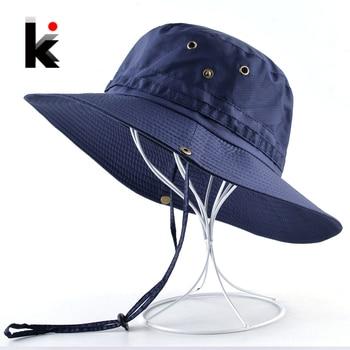 Men's Bob Sun Hat Wide Brim Bucket Hat Men Women Summer Anti-UV Visor Caps Outdoor Beach Chapeu Fishing Climbing Quick Dry Cap 1