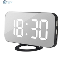 2019 Free Shipping Modern Digital LED Table Desk Night Wall   Clock   Alarm Watch 24 or 12 Hour Colorful numbers Display 18Oct25