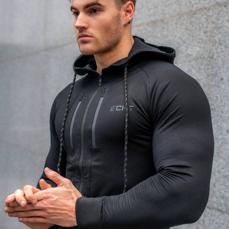 2018 Autumn New Men Zipper Hoodies Fashion Casual Gyms Fitness Hooded Jacket Male Cotton Sweatshirts Sportswear Clothing Tops