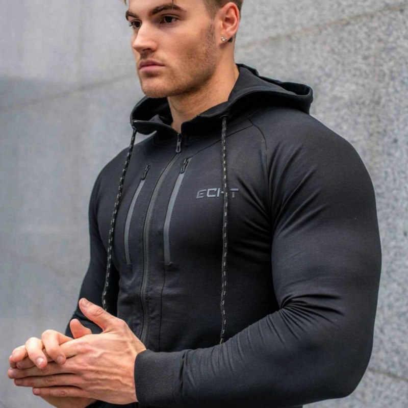 2018 秋の新メンズジッパーパーカーファッションカジュアルジムフィットネス付きジャケット男性綿のスポーツ服をスウェットトップス