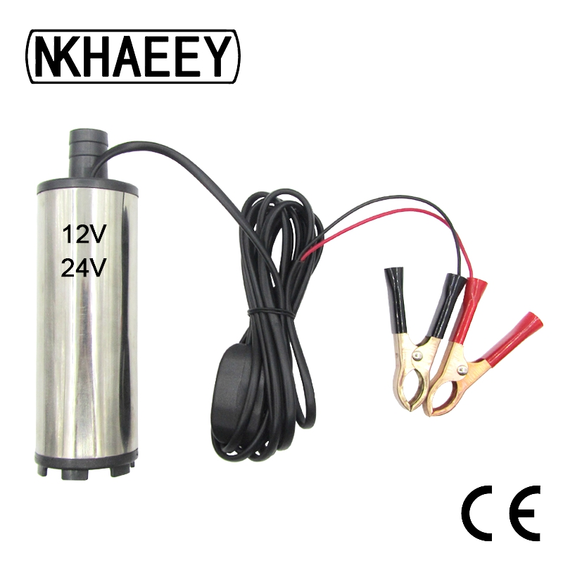 Diameter 51MM DC 12V 24V Car Electric Submersible Pump Motor Suction Oil Water Disel Pump Stainless Steel Band Strainer