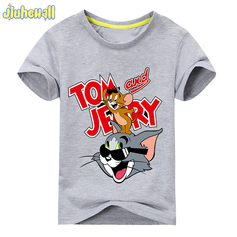 2018 Baby Cartoon Mouse Cat Printing T-shirt For Boy Girl Short Sleeve Tee Tops Clothes Children Cotton Summer Costume ACY109 2018 new 3d cartoon fireman sam print tee tops for boy girl summer short sleeve t shirt children cotton clothes kid tshirt tx041