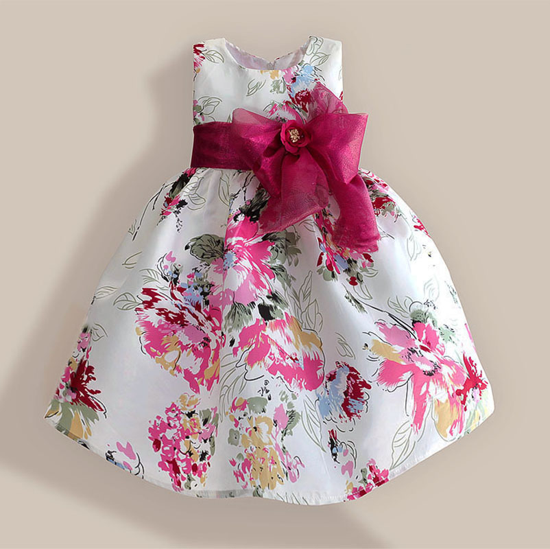 Super Bow Girls Sukienki Red Flower Fashion Christmas Party Birthday Kids Dress Tribute Jedwabne ubrania dla dzieci 3-8