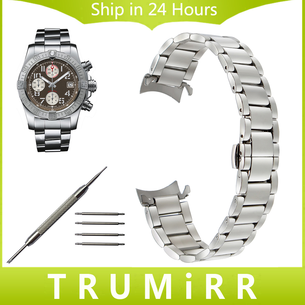 Stainless Steel Watchband Curved End Strap for Breitling Men Women Watch Band Butterfly Clasp Belt Wrist Bracelet 18mm 20mm 22mm curved end stainless steel watchband for rado men women watch band wrist strap butterfly clasp belt bracelet 18mm 20mm 22mm 24mm