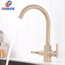 SOGNARE Marble Painting Kitchen Faucet Taps Brass Deck Mounted Cold Hot Kitchen Mixer Sink Faucet Kitchen Faucets For Sinks Taps gappo kitchen faucet kitchen sink faucets water mixer kitchen color brass taps sink kitchen faucets waterfall faucet