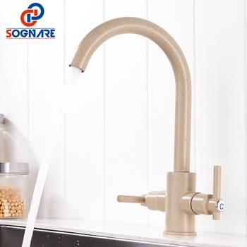 SOGNARE Marble Painting Kitchen Faucet Taps Brass Deck Mounted Cold Hot Kitchen Mixer Sink Faucet Kitchen Faucets For Sinks Taps ulgksd kitchen faucet black brass pull out sprayer vessel sink faucet deck mounted hot and cold vanity faucets mixer water taps